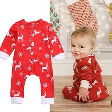 Baby Boys Girls Christmas Romper Clothes Deer Jumpsuit Outfits