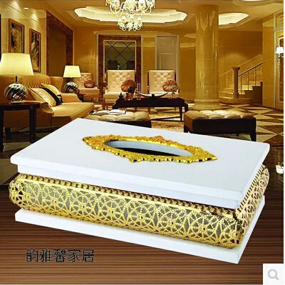 European luxury gold plated metal tissue box wooden tissue box tissue holder for home decorationZJH005