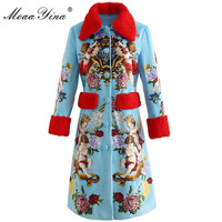 MoaaYina Fashion Runway Woolen coat Winter Women Wool Large lapel Long sleeve Angel Print Elegant Keep warm sky blue Overcoat