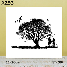 AZSG Lovers under the Tree Stamps/Seals For scrapbooking DIY Card Making/Album Silicone Decoration crafts 10*10cm