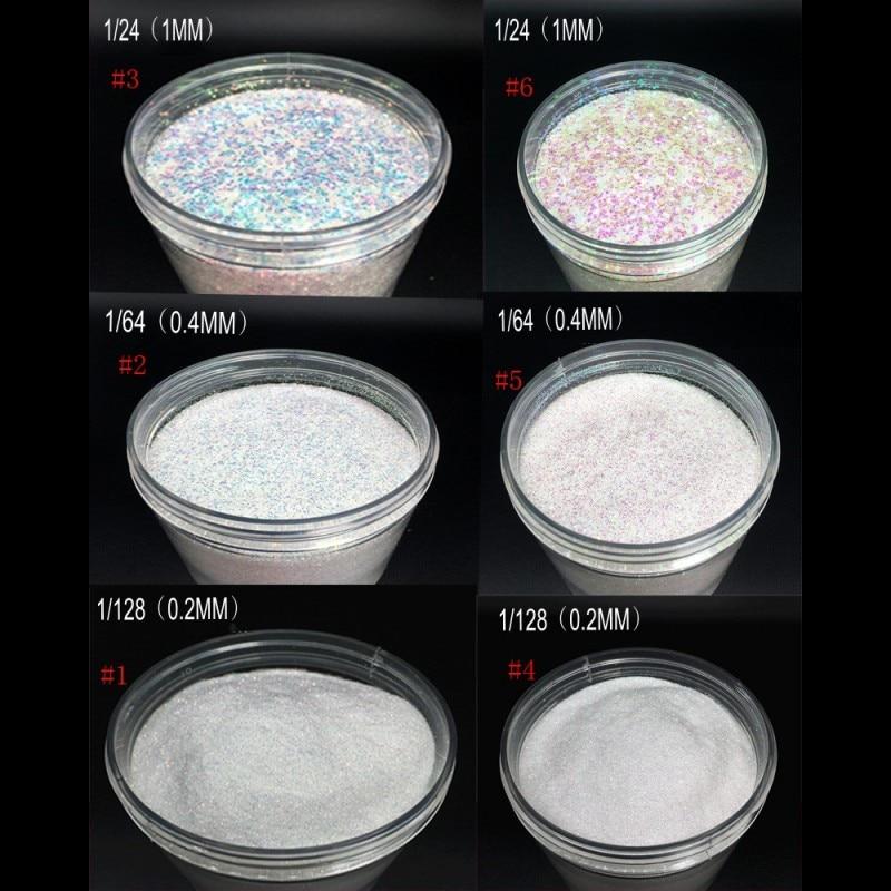 1 Box 10Grams Iridescent AB Naill Glitter 0.2/0.4/1MM Holographic Nail Art Glitters Acrylic Powder Dust UV Gel Polish FPA-101#