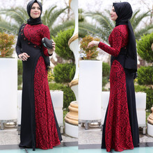 Long Black-And-Red A-Line Lace Muslim Evening Dresses With Hijab Beaded Long Sleeves Floor Length Evening Dresses