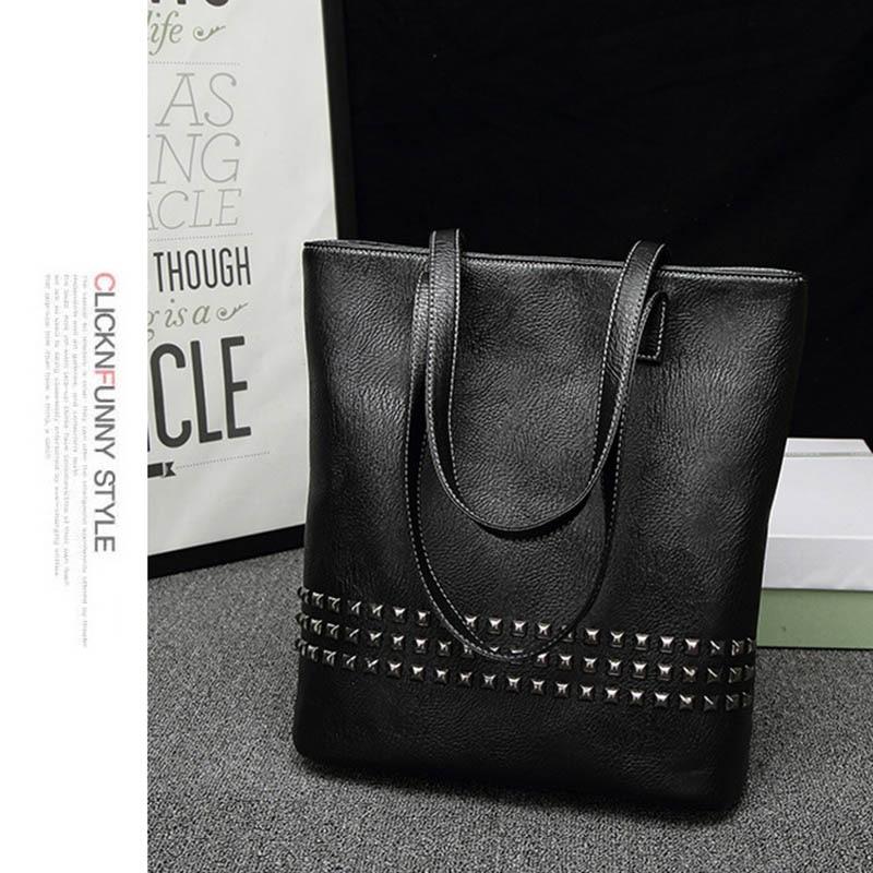HEBA-Women PU Leather Female Handbag Autumn Bag Large Size Women Shoulder Bag Daily Vintage Bag Causal Rivet Bag(Black)