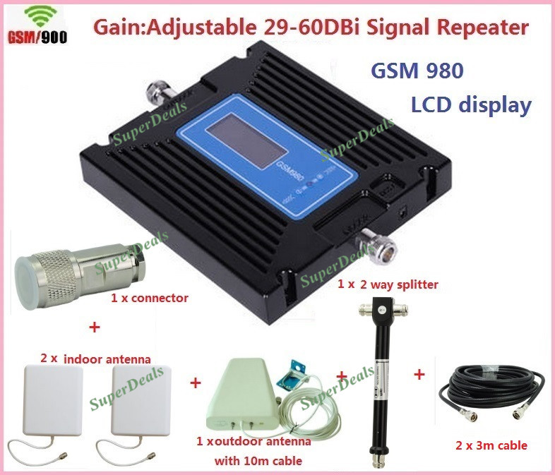 Date GSM980 gain répéteur réglable gsm réseau Mobile Signal Booster GSM Signal répéteur téléphone portable amplificateur couverture 2 pièces