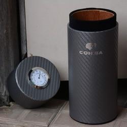COHIBA-étui à cigares de voyage, en Fiber de carbone et bois de cèdre, Tube doublé, Mini humidificateur, avec humidificateur avec hygromètre