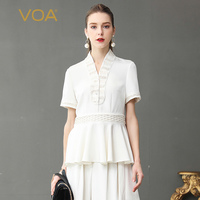 VOA Heavy Silk Women Tops Solid White Office Shirt V Neck Plus Size 5XL Tee Chinese Style Vintage Slim Ruffles Summer B361