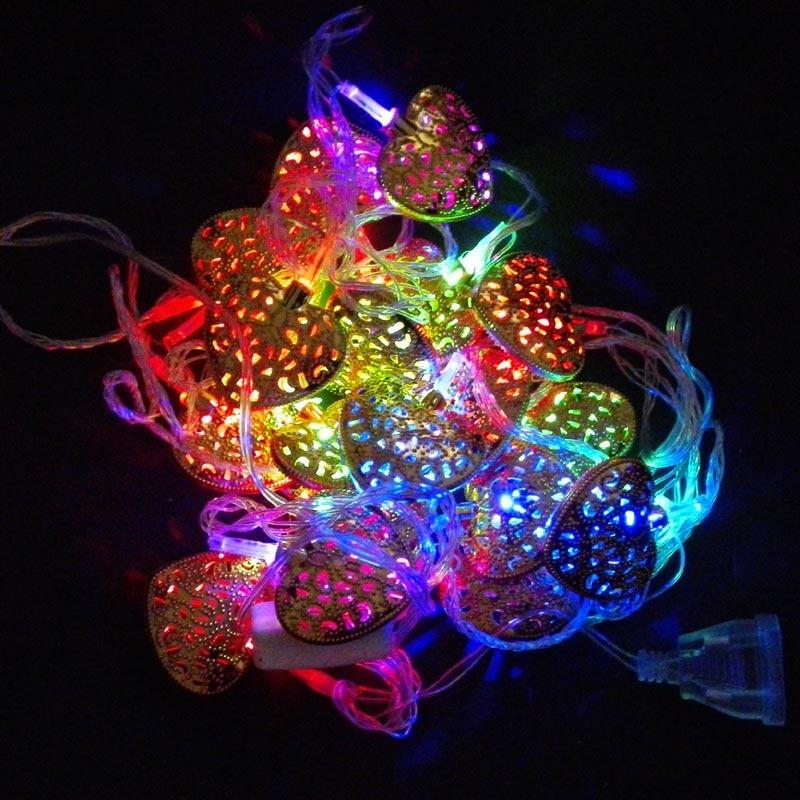 3m length 20 bulbs Christmas decoration light golden heart shape lights 50-250V voltage range various plugs