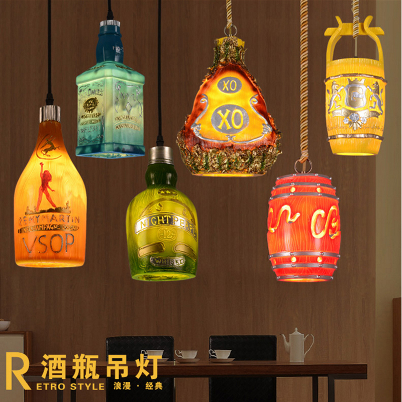 New Creative simple style LED pendant light lamp wine bottle cafe-room/bar decoration single pendant for home bedroom+led bulbs hot sale european style resin phoenix wine rack high end home accessories bar wine rack wholesale