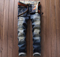 European American Style fashion brand men jeans luxury Men's casual denim trousers stripes Slim blue zipper jeans pants men 6001