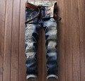 Europeu Estilo Americano de moda calças de brim dos homens de luxo da marca dos homens listras casuais calças jeans Fino azul zíper das calças de brim calças dos homens 6001
