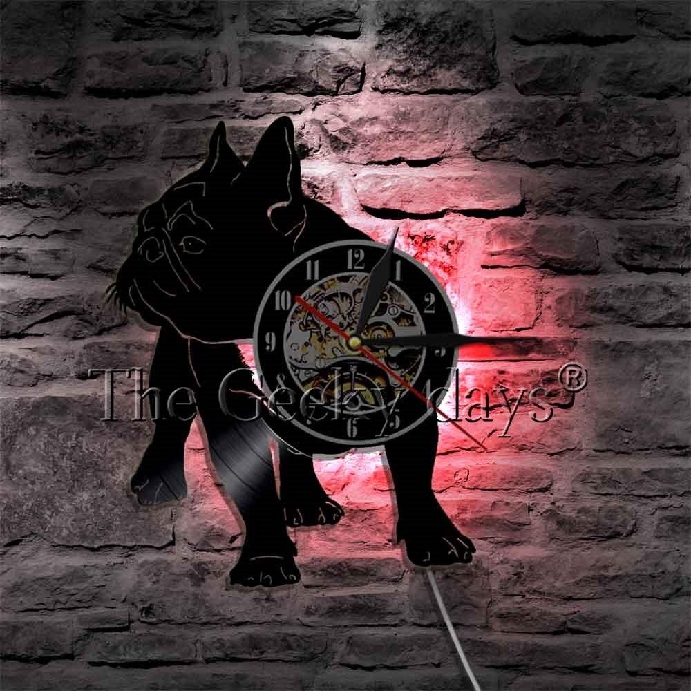 78990acea51 1 Piece Buldogue Francês Iluminação Disco de Vinil Relógio de Parede Relógio  de Parede Arte Decorativa Cão Filhote de cachorro do Animal de Estimação  Animal ...