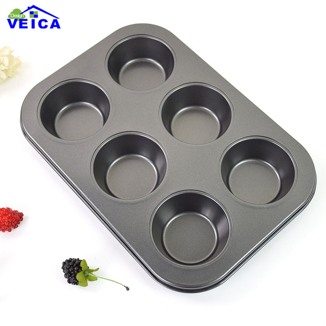 2019 Promotion Hot Sale Baking Dish Round Non Stick Carbon Steel Bakeware 6 Cups Cake Cupcake Mold Pan Cookie Baking Pan