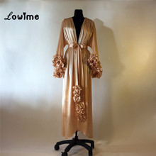Long Sleeved Golden Evening Party Dress Robe Dubai Turkish Arabic Evening Dresses Gowns For Pregnant Women Moroccan Kaftan Abaya