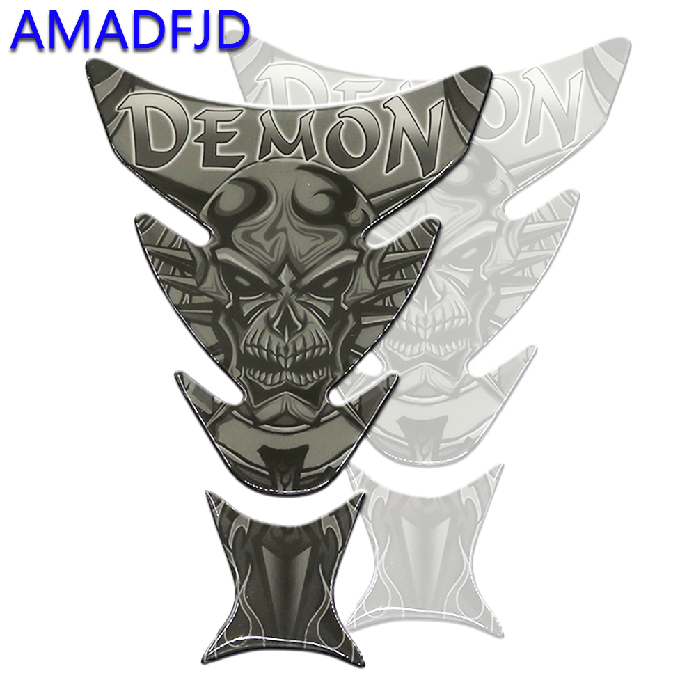 AMADFJD Car Motorcycle Sticker Decals MotorBike Tank Pad Demon Skull Logo Tank Protector Sticker Decal For Harley Skull Tankpad