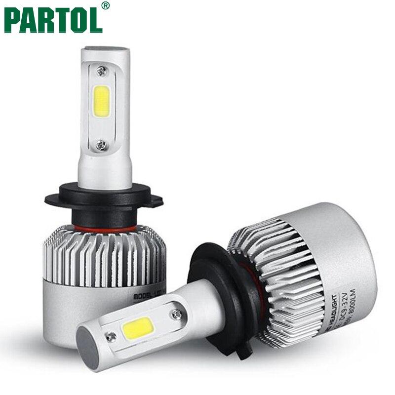 Prix pour Partol S2 COB H7 LED Phare 72 W 8000LM Tout En Un voiture LED Phares Ampoule Phare Brouillard Lumière 12 V Auto Pièces De Rechange 6500 K