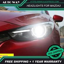 Автомобильный Стайлинг светодиодный светодиодные hid-лампы головного света корпус передней фары для Mazda 3 Mazda3 фары Axela M3 2014 2015 2016 bi-ксеноновая линзы ближнего и дальнего света