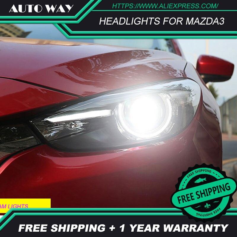 カースタイリング Led HID LED ヘッドライトヘッドランプケースマツダ 3 Mazda3 ヘッドライトアクセラ M3 2014 2015 2016 バイキセノンレンズ低ビーム  グループ上の 自動車 &バイク からの カーライトの組み立て の中 1