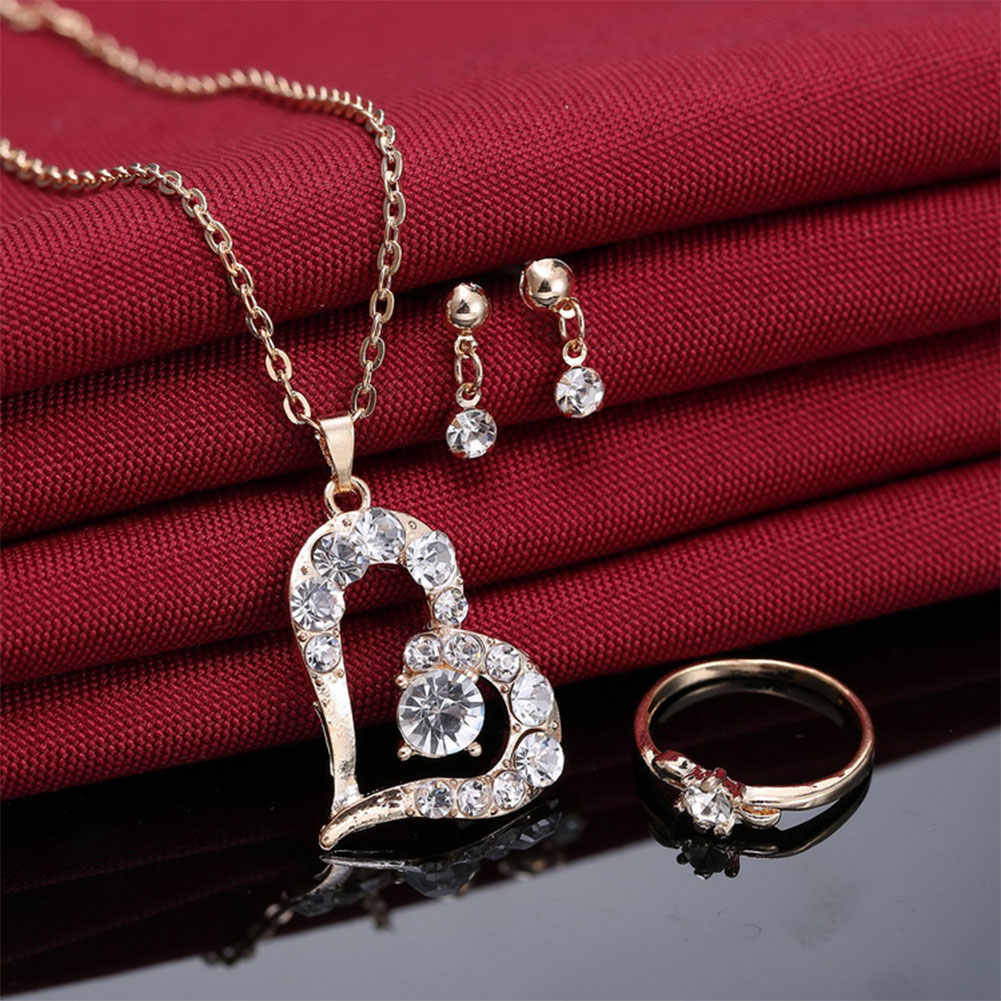 4197da976b Luxury Love Heart Pendant Rhinestone Necklace Ring Earrings Women Jewelry  Set dubai jewelry sets stainless steel jewelry woman