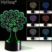 3D Clover Tree Bedroom Table Lamp Touch Buttons Cute Led Acrylic Vision Night Light Romantic Lamp