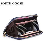 SOUTH GOOSE Brand PU Leather RFID Men Long Wallets Casual Women Zipper Organizer Wallets Large Capacity