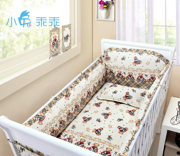 Promotion! 6PCS baby cot bedding kit 100% cotton crib set 100% cotton baby bed around,include(bumper+sheet+pillow cover) promotion 6pcs crib baby bedding set cotton curtain crib bumper baby cot sets include bumpers sheet pillow cover