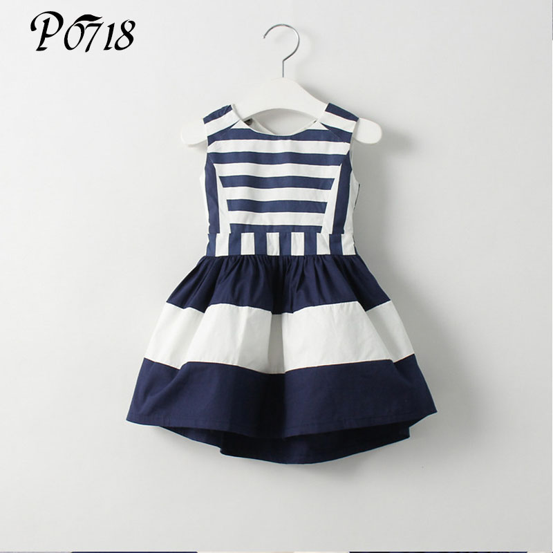 2017 Sweet New Girl Kids Fashion Children Korean Style Clothing Sleeveless Summer Dress Baby Girls Striped Navy Vest Dresses summer style girls clothing for 6 14 years old girl baby girls pony dress sleeveless girl children clothing
