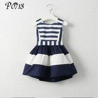 2017 Sweet New Kids Fashion Children Korean Style Clothing Sleeveless Summer Dress Girls Striped Navy Wind