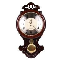 TUDA Free Shipping Solid Wood Quartz Wall Clock Oval Classical Europen Living Room Elegant Wall Clock Daintier Swing Wall Clock