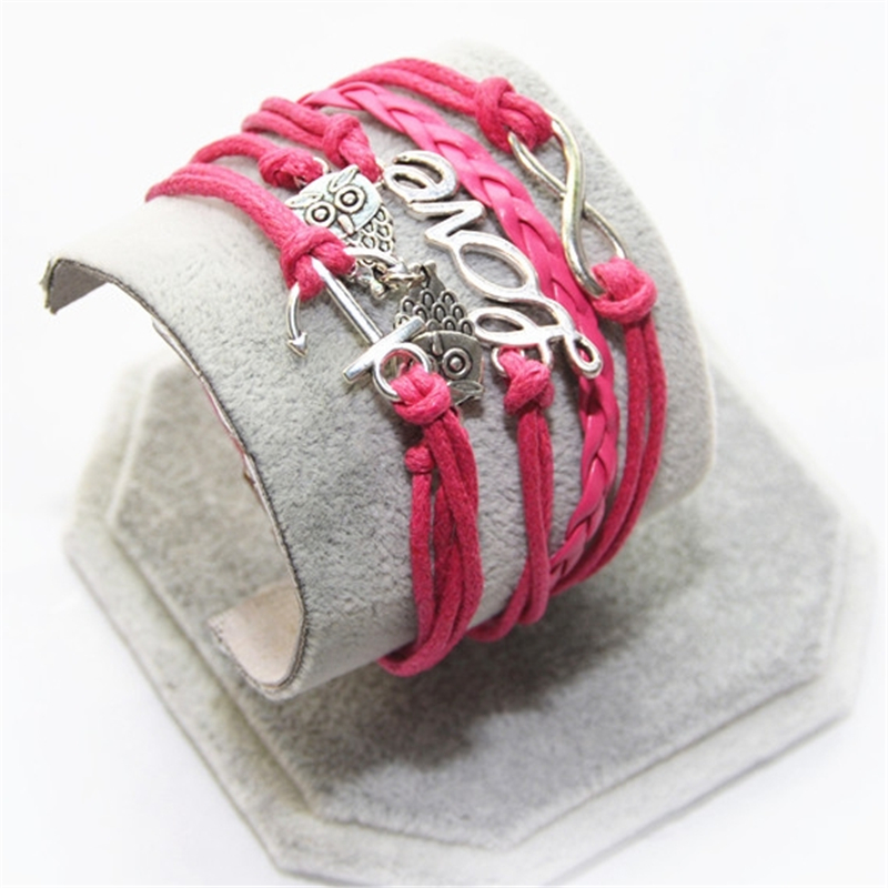 L0201 New Hot 2017 Popular Multilayer Braided Bracelets Vintage Love Eight Multicolor Woven Leather Bracelet Bangle girl - BILL JEWELRY CO,.LTD Min order $8 store
