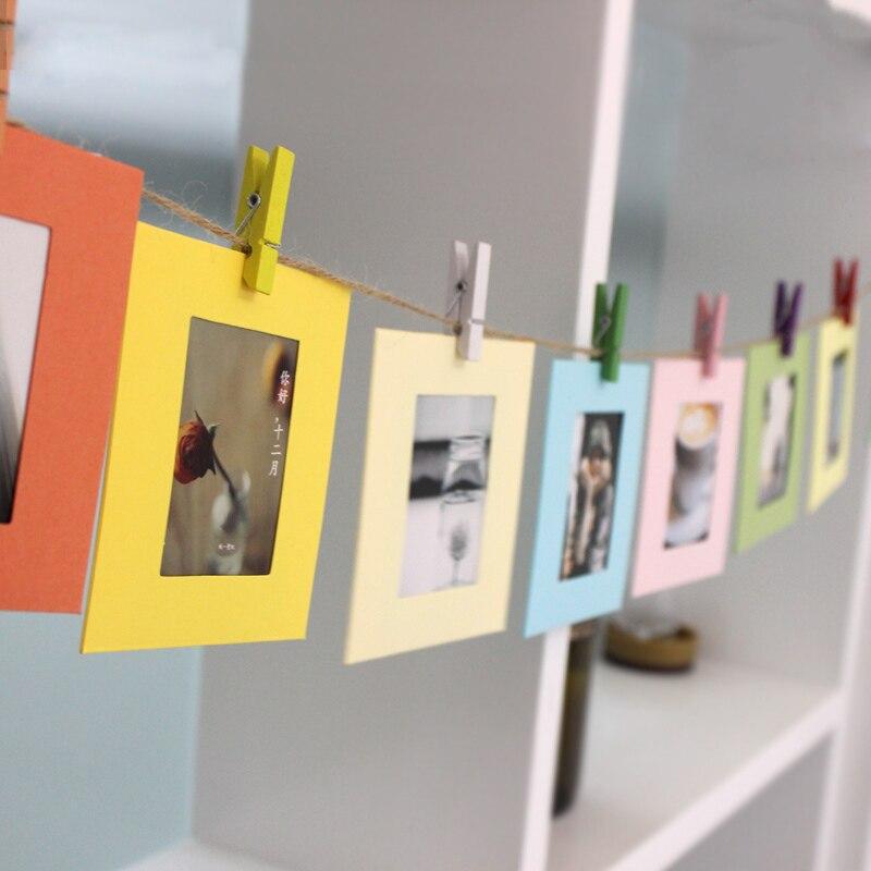 Beatiful DIY Cardboard Photo Frame with Wood Clips & Rope Retrato ...