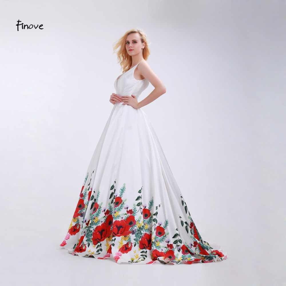 7e600b14d4 ... Finove White Prom Dresses Girls 2019 Sexy V-Neck Fashionable Red  Flowers Pattern Reflective Dress ...