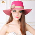 Lady New Fashion Sun Hat Women Straw Sun Cap Woven Straw Hats Travel Sunscreen Cap Fashion Flowers Wide Brim Cap B-4848