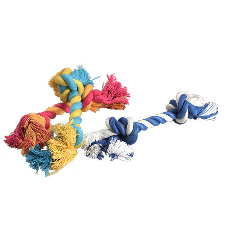 1 pcs Pets dogs pet supplies Pet Dog Puppy Cotton Chew Knot Toy Durable Braided Bone Rope 15CM Funny Tool (Random Color ) 4