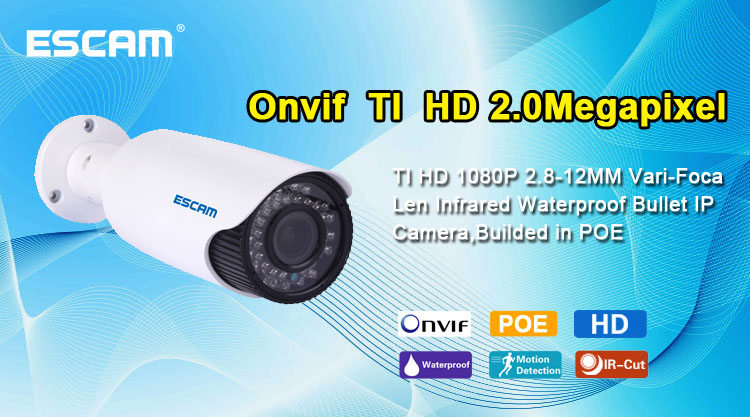 ESCAM HD3300V Vari Focal 2 8 12mm Lens P2P 1080P HD Onvif support POE Outdoor camera