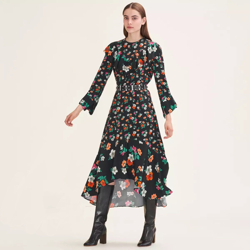 Women Floral Print Three Quarter Sleeve Viscose Soft Asymmetric Ruffle Elegant Midi Dress