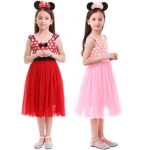 Cute Girls Minnie Dress Polka Dot Tulle with Headband Mouse Cosplay Photography Costumes Kid Birthday Clothes