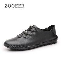 Nuevo ZOGEER Talla 38-48 Zapatos Casuales de cuero de los hombres, ventas calientes hecho a mano zapatillas hombre, diseñador de moda mocasines hombre cuero