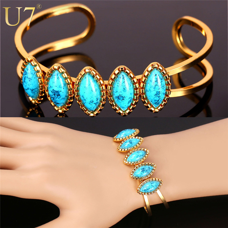 u7 turquoise bracelets for women trendy gold plated