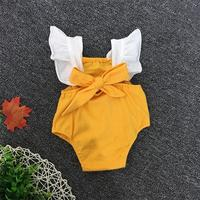 Summer Baby Romper Lace Ruffles Sleeve Mustard Yellow Cotton Infant Rompers Newborn Baby Girls Clothing