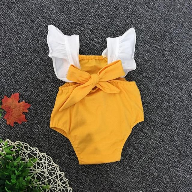 f162d23d8b Summer Baby Romper Lace Ruffles Sleeve Mustard Yellow Cotton Infant Rompers  Newborn Baby Girls Clothing