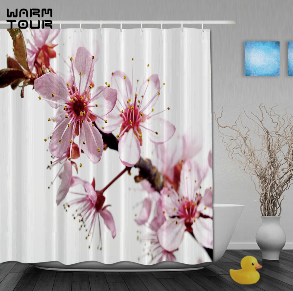WARM TOUR Custom Cherry Blossoms Pink And White Color Luxury Curtains  Fabric With Hooks High Quality