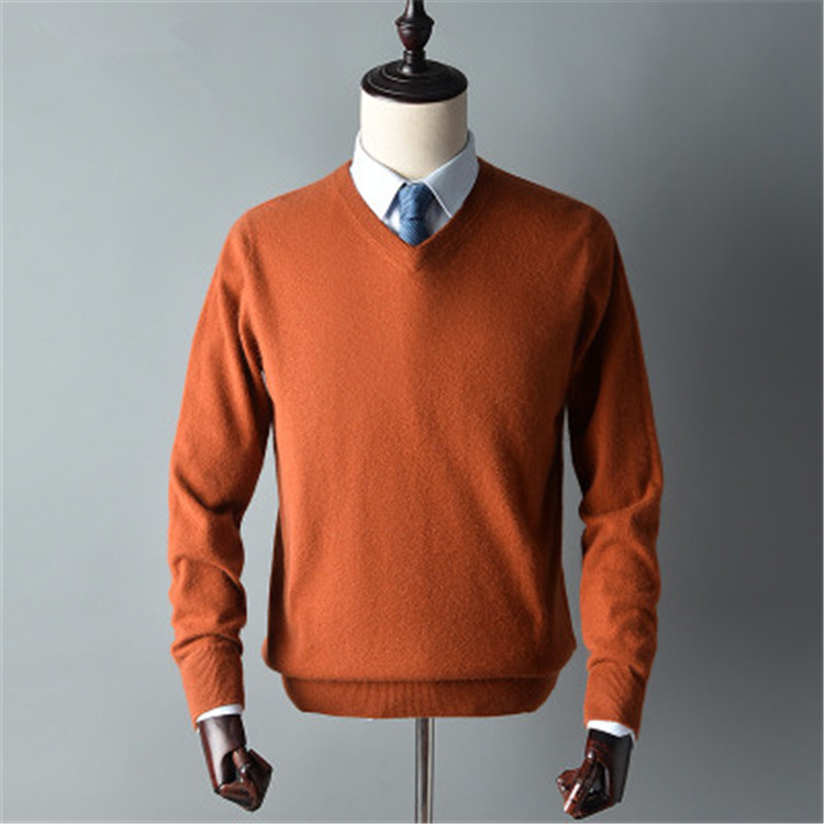 New Arrival Pure Goat Cashmere Thick Knit Men Smart Casual Oneck Loose Pullover Sweater Solid Color S-3XL