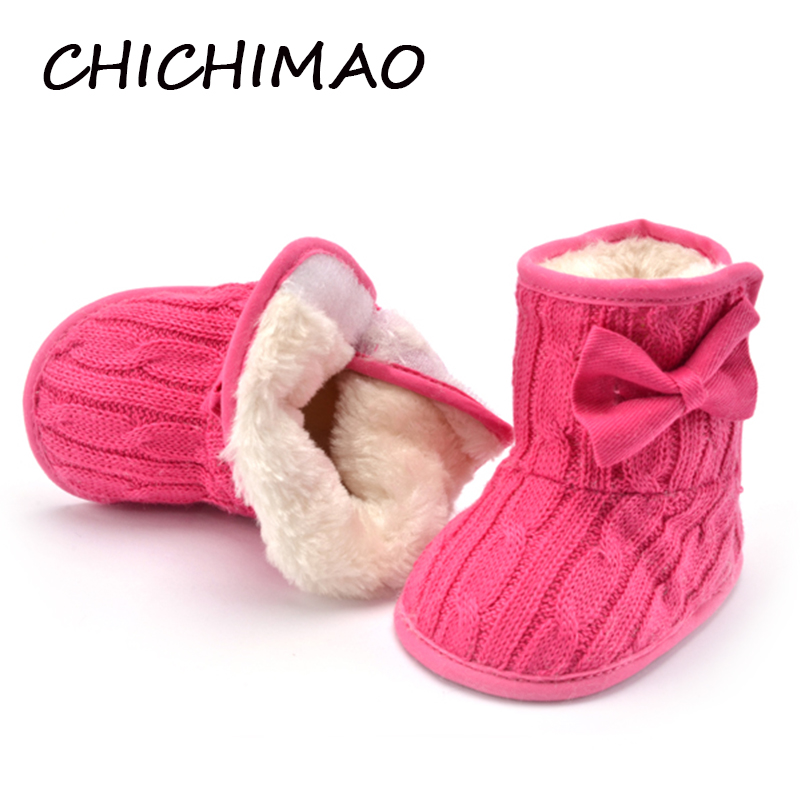Baby Girl Boots Soft Bowknot Booties Snow Boots Cotton Wool Winter Shoes For Infant Toddler Warming Crib Shoes 0-18 Months