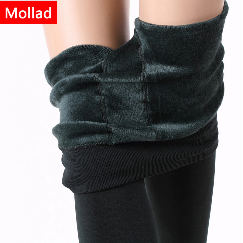 Mollad 2018 New Winter Women Leggings Fashion Plus Velvet Winter Warm Legging Högelastiska tjocka kvinnliga leggings