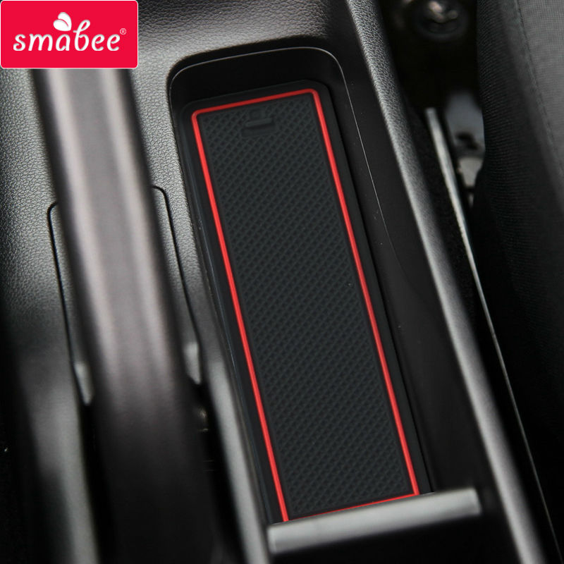 smabee car Gate Slot Pad for HONDA JAZZ FIT4 2014-2017 Non-slip Mats Automotive Interior Coaster Dust Cushion RED/BLUE/WHITE
