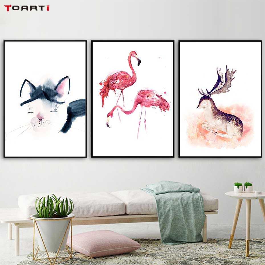 Image 2 - Cartoon Animals Prints Posters Flamingo Cat Canvas Painting On The Wall For Kids Nursery Home Decor Minimalist Tree Art Pictures-in Painting & Calligraphy from Home & Garden
