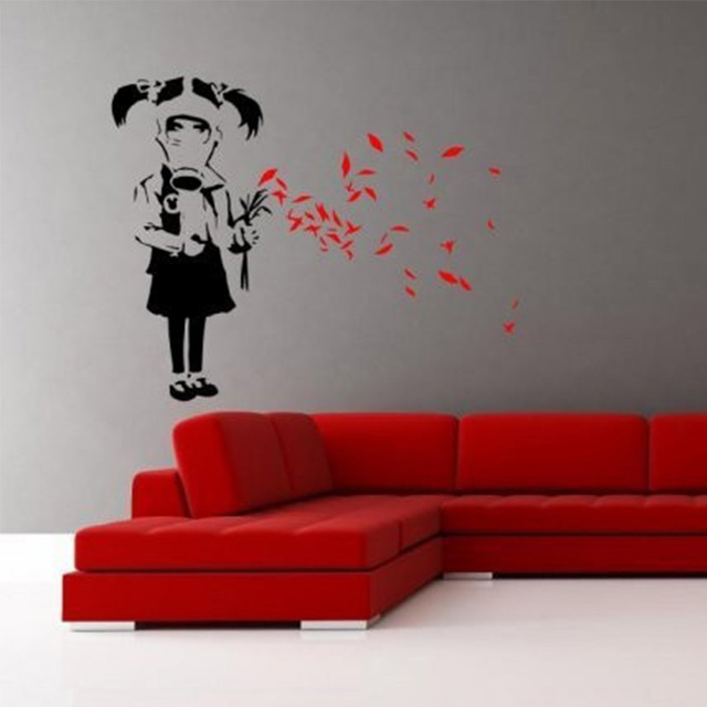 enhanced striking wall decor vinyls modern art banksy gas mask girl