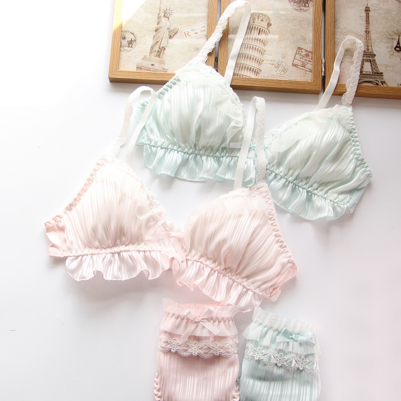 YOURMIX New Arrival Floral Lolita Sexy Cute Kawaii Chiffon Padded Wireless Seamless Sheer Soft Bustier   Bra   Panties   Set