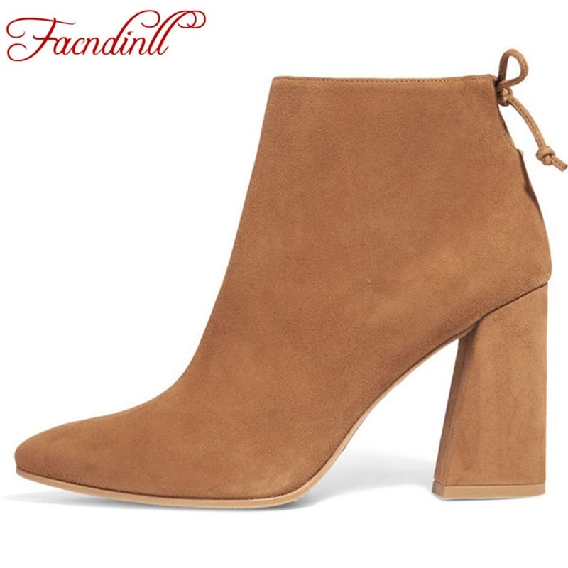 ФОТО brand designer high quality women nubuck leather women ankle boots pointed toe thick high heels female  autumn winter footwear