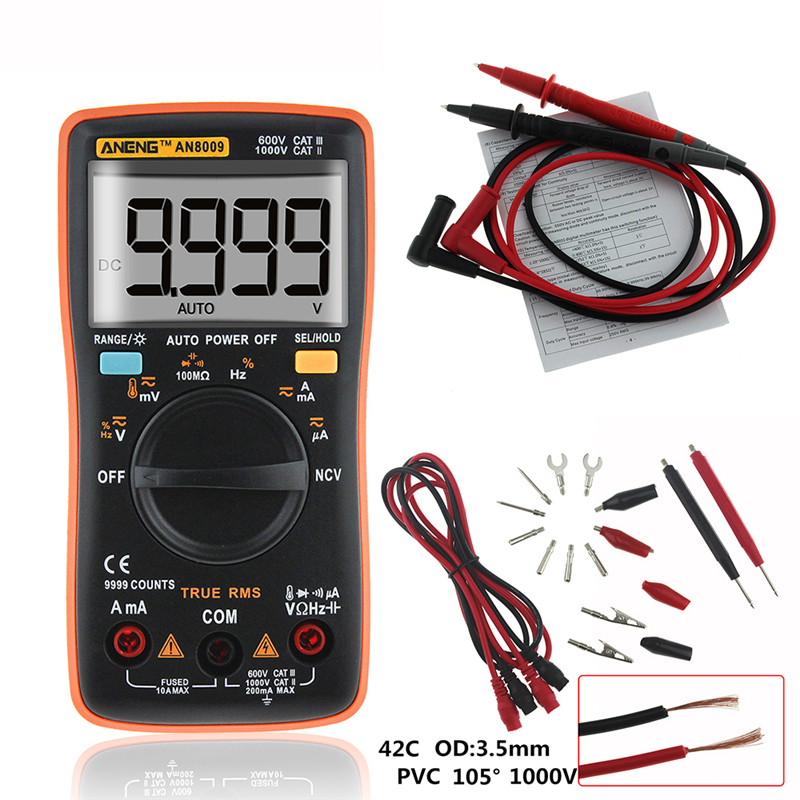 AN8009 True-RMS Auto Range Digital Multimeter NCV Ohmmeter AC/DC Voltage Ammeter Current Meter temperature measurement New rhinestone ball hook long chain earrings